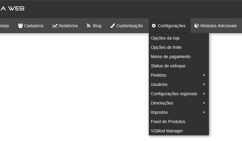 novo-menu-opencart-brasilnaweb-configuracoes