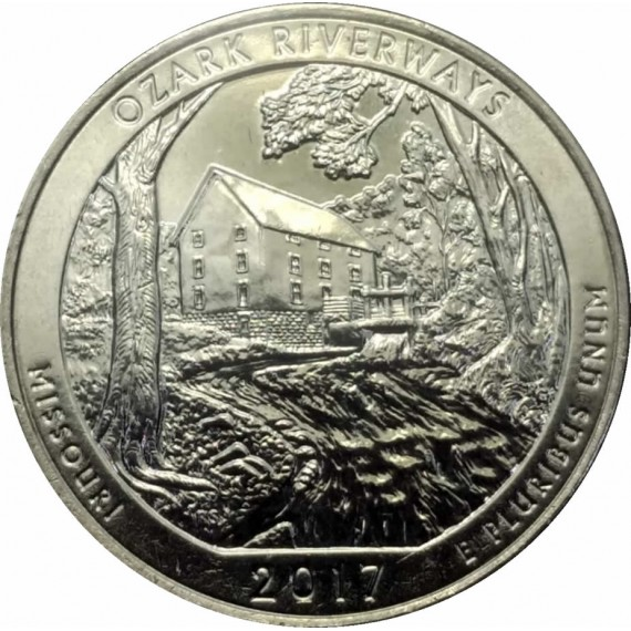 Moeda 0,25 Dolar - EUA - Parks Ozark Riverways 2017 P