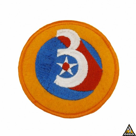 Vintage Patch Bordado em Feltro WWII Army Air Force 3rd Division 3 Star Red