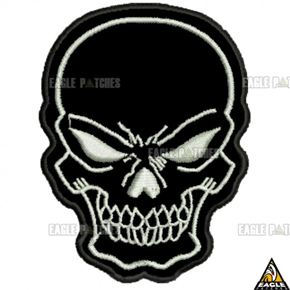 Patch bordado Black Skull Caveira