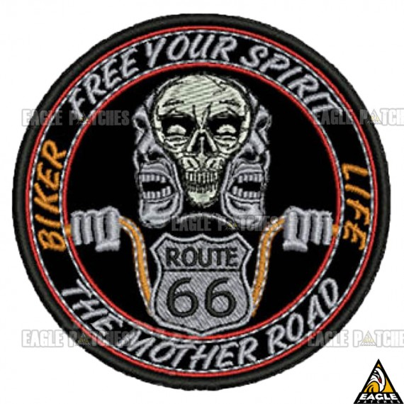 Patch bordado Biker Life Route 66 the Mother Road
