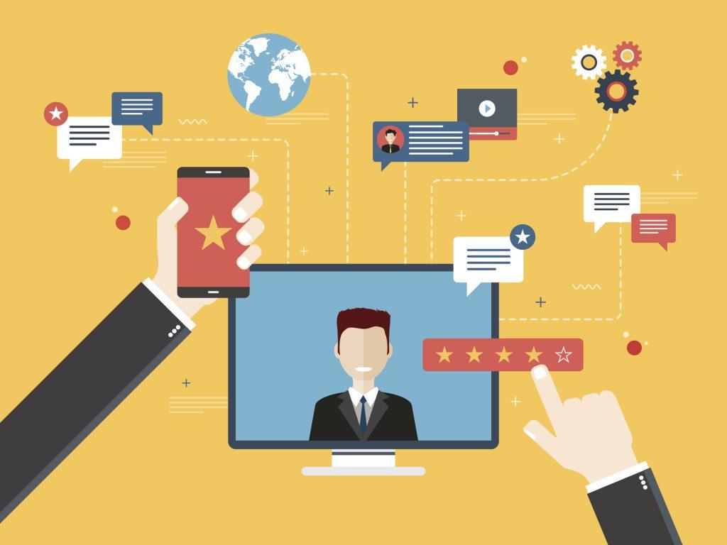 Ilustração de um monitor de computador e interações de redes sociais. Representaas funcionalidades do perfil do Facebook