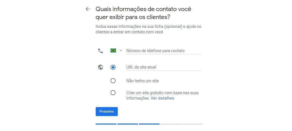 Campo de escolha de formas de contato da empresa no Google Meu Negócio