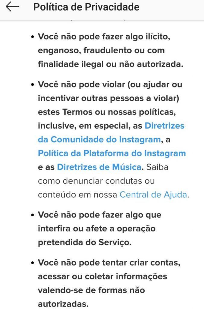 Políticas de Privacidade Instagram