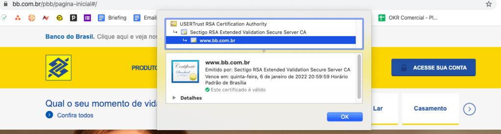 Certificado de Segurança de Validação Estendida