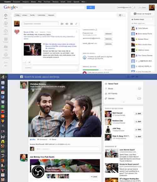 Novo feed do Facebook versus G+: nova barra na lateral esquerda, valorização ainda maior das imagens, além da limpeza estética comparado ao visual antigo fazem a rede de Mark parecer bastante com o projeto do Google, o que reflete não só uma integração, como uma convergência de valores.