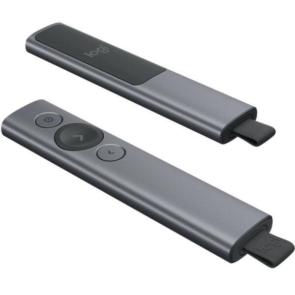Apresentador Logitech Sem Fio Spotlight  Conexão por Receptor USB ou Bluetooth e Bateria Recarregável