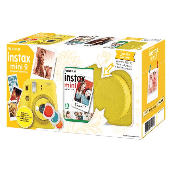 Câmera Instantânea Fujifilm Instax Mini 9 + Pack 10 poses + Bolsa - Amarelo Banana