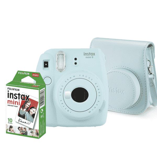 Câmera Instantânea Fujifilm Instax Mini 9 + Pack 10 poses + Bolsa - Azul Aqua