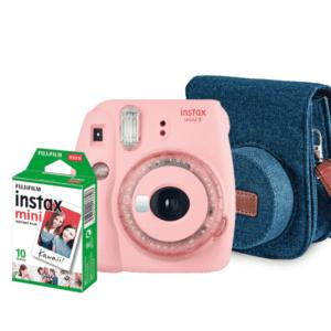 Câmera Instantânea Fujifilm Instax Mini 9 + Pack 10 poses + Bolsa - Rosa Chiclé