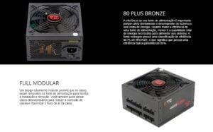 Fonte ATX 600W Redragon - 80 Plus Bronze, Modular