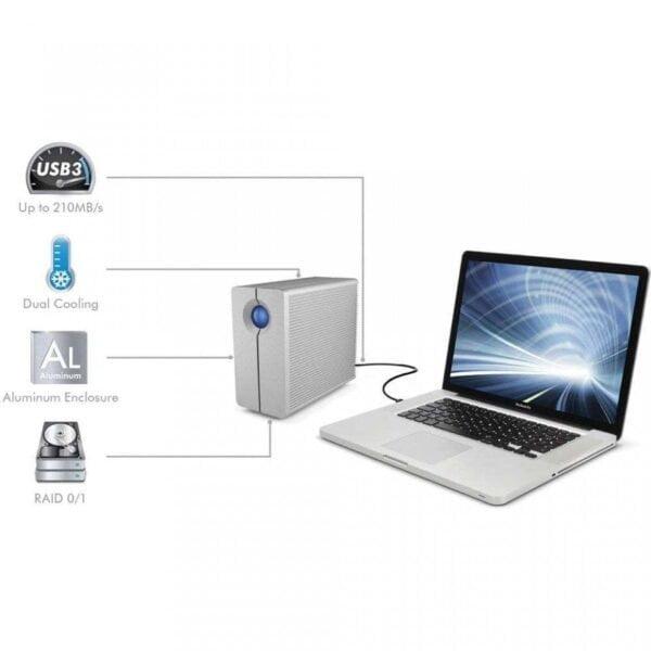 HD Externo LaCie 2Big Quadra 6TB USB 3.0 FireWire 400 e 800 RAID – 9000354