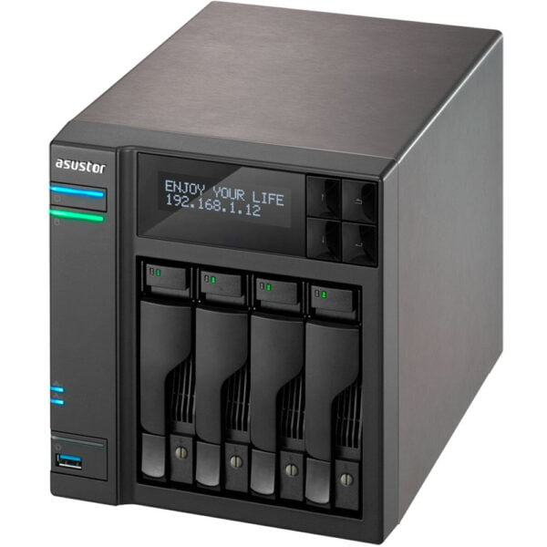 Hd Externo Nas Asustor 4 Baias Dual Core 1.6GHz Com HD 4x12TB – AS6204T48000