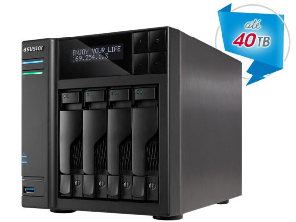 Hd Externo Nas Asustor 4  Baias Quad Core 1.6/2.24GHz S/ HD – AS6204T