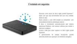 HD Seagate Externo 2TB Portátil Expansion USB 3.0 Preto - STEA2000400