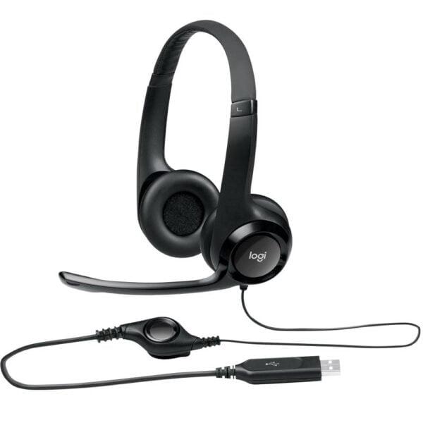Headset Logitech H390 USB Áudio Digital em Couro - Preto