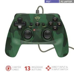Joystick Gamepad Trust GXT 540C Yula - PC e PS3, Cabo 3m, 13 Botões - Camuflado Com fio