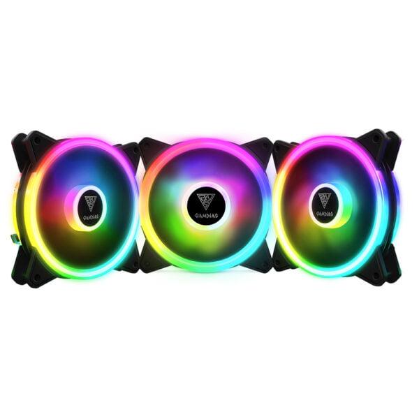 Kit 3 Coolers Fans Gamdias Aelous M2-1203 Lite - RGB, 120mm