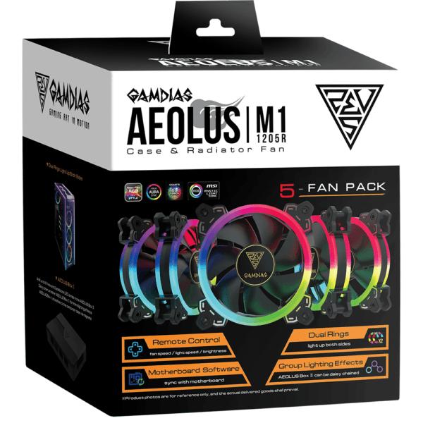 Kit Coolers Fan RGB Gamdias Aeolus M1 5x120mm - 1205R