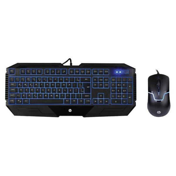 Kit Gamer HP Teclado Led Azul + Mouse Led Azul - GK1100