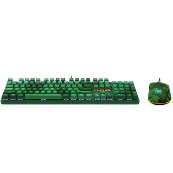 Kit Gamer Redragon Teclado e Mouse Rainbow S108 Hunter Light Green ABNT2