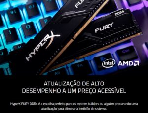 Memória HyperX Fury 16GB DDR4 2400MHz Preto – HX424C15FB3/16