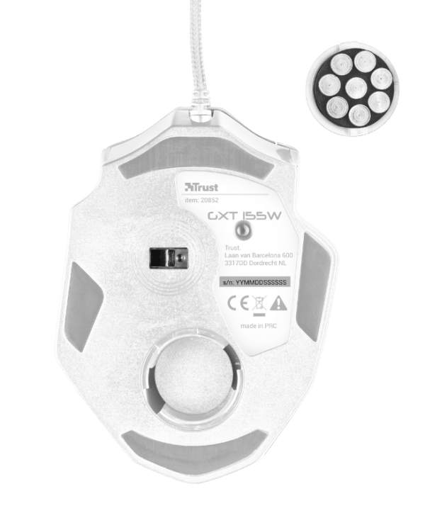 Mouse Gamer Trust GXT 155C Caldor RGB 4000DPI Branco Camuflado