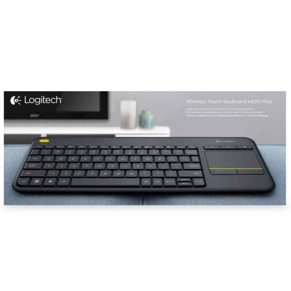 Teclado Logitech Plus Sem Fio Para Smart TV Touchpad Multimídia ABNT2 - K400