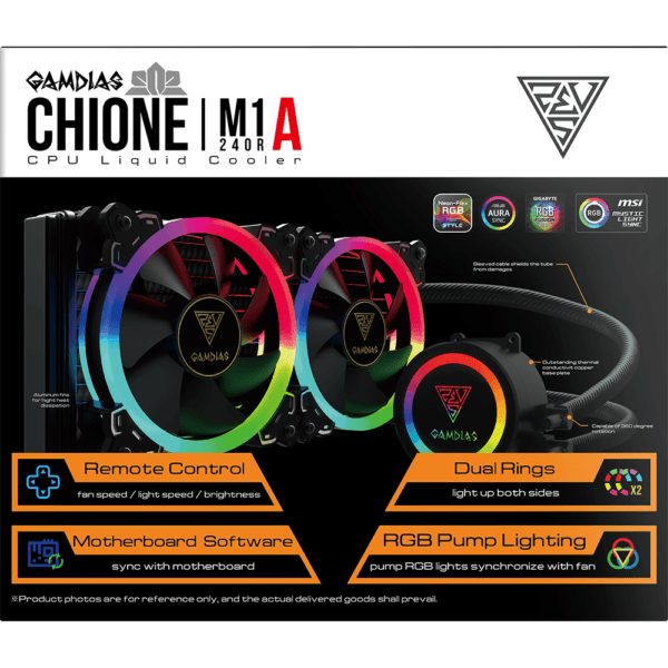 Water Cooler RGB Gamdias Chione 240mm M1A-240R Intel e Amd