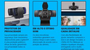 WebCam Logitech C920 s Pro Full HD 1080p Com Microfones Duplos