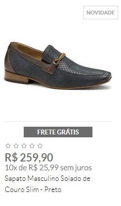 Sapato Masculino Solado de Couro Slim - Preto