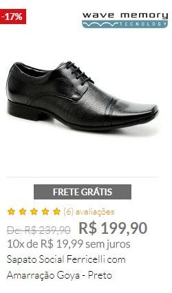 Sapato Social Ferricelli com Amarração Goya - Preto