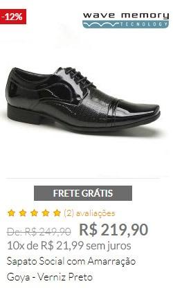 Sapato Social com Amarração Goya - Verniz Preto