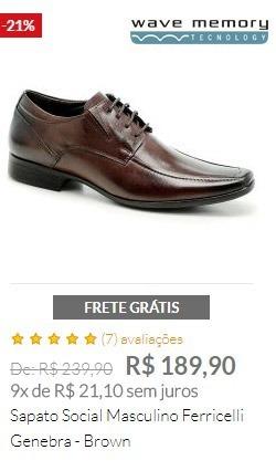 Sapato Social Masculino Ferricelli Genebra - Brown