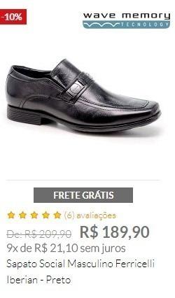 Sapato Social Masculino Ferricelli Iberian - Preto