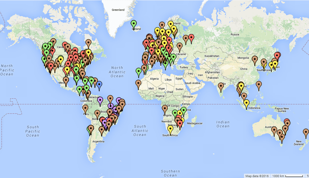 mapa de festivais de musica no mundo