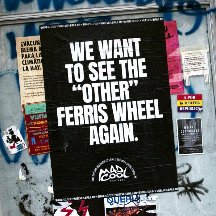 cartaz do mad cool para festivais com a frase queremos ver aquela outra roda gigante outra vez