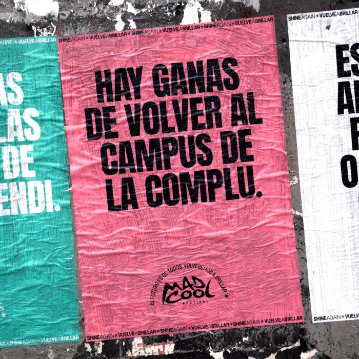 cartaz do mad cool para festivais com a frase vontade de voltar ao campus da La Complu