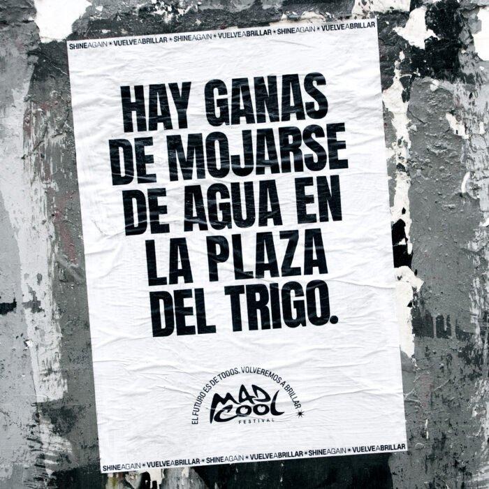 cartaz para festivais com a frase vontade de se molhar de água na plaza del trigo