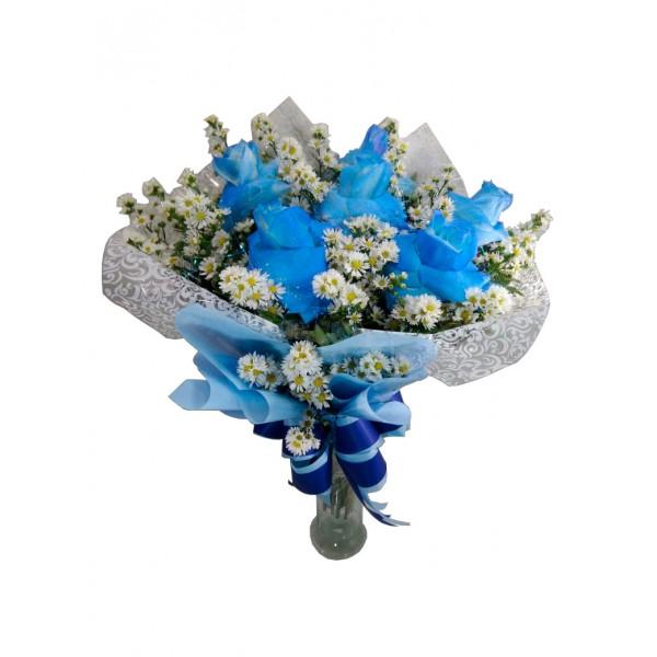 Buquê Azul com 6 Rosas