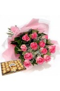 12 pink Roses & Choco