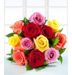 12 Colored mixed roses ( Bouquet)