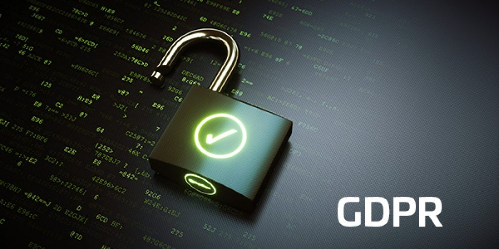Top view on a padlock lying on an encrypted code surface. The padlock is unlocked and displays a green OK checkmark.