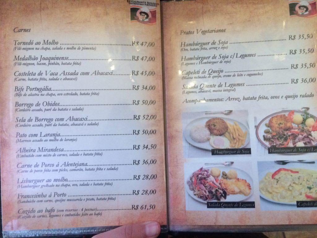 Parte do menu do Restaurante Rosário