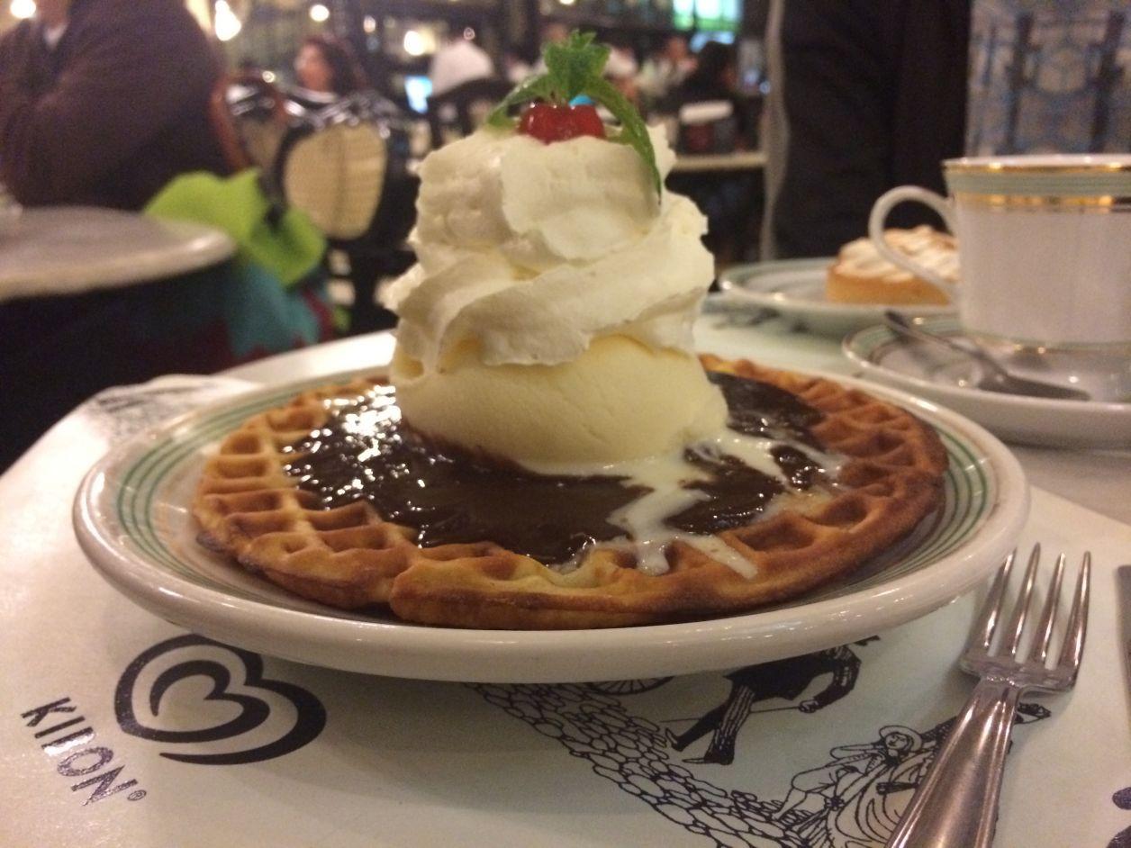 Waffle com Nutella! Esse foi do namorado, não comi isso tudo não, hahaha!
