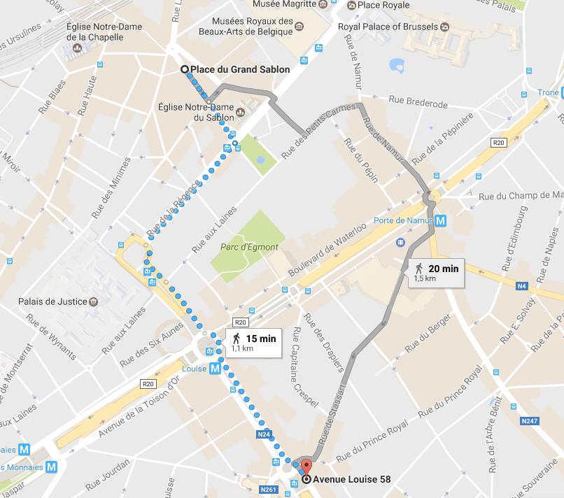 mapa turístico Bruxelas