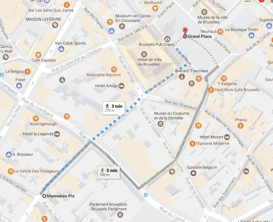 o que fazer em Bruxelas mapa