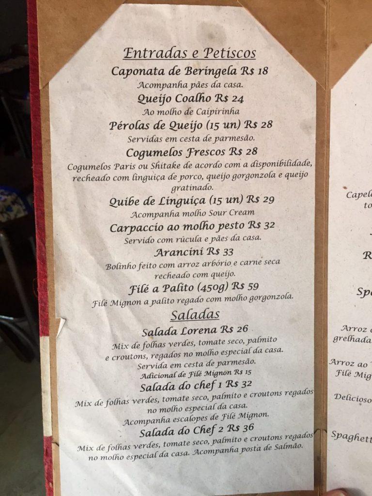 Menu do Restaurante Fabrício's, em Santa Teresa