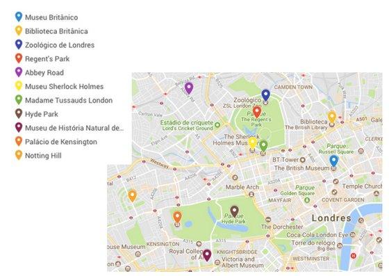 mapa das atrações turísticas de Londres
