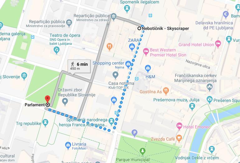 mapa parlamento liubliana